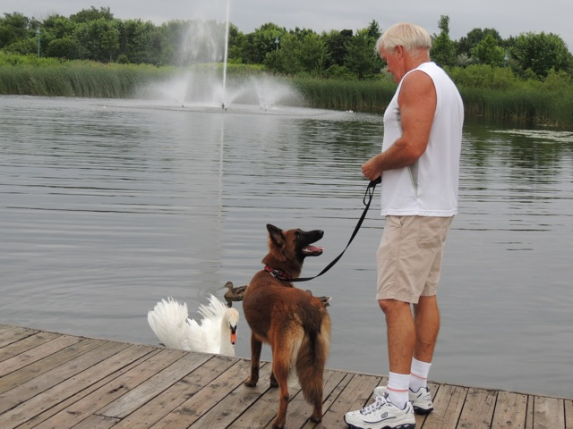 She's totally asking my dad if those swans are going to peck her.