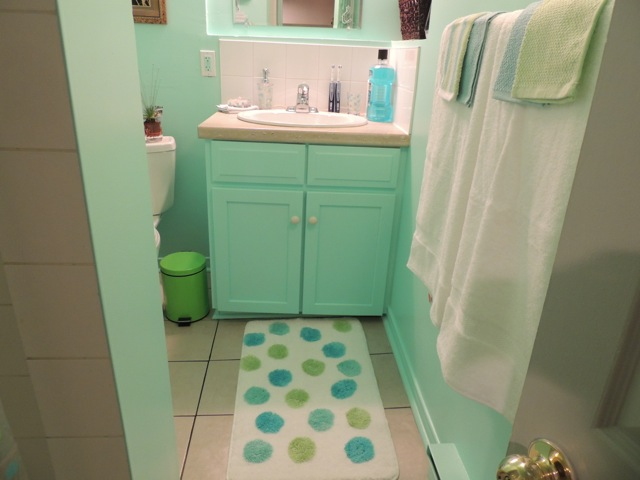 My previously beige bathroom is now turquoise!
